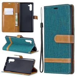 Jeans Cowboy Denim Leather Wallet Case for Samsung Galaxy Note 10 (6.28 inch) / Note10 5G - Green