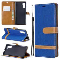 Jeans Cowboy Denim Leather Wallet Case for Samsung Galaxy Note 10 (6.28 inch) - Sapphire