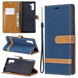 Jeans Cowboy Denim Leather Wallet Case for Samsung Galaxy Note 10 (6.28 inch) / Note10 5G - Dark Blue