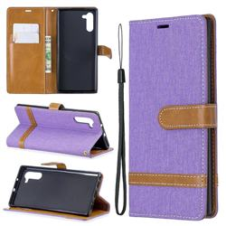 Jeans Cowboy Denim Leather Wallet Case for Samsung Galaxy Note 10 (6.28 inch) - Purple