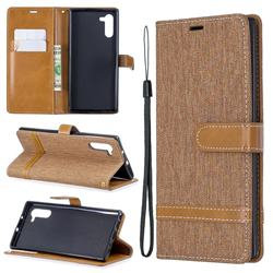 Jeans Cowboy Denim Leather Wallet Case for Samsung Galaxy Note 10 (6.28 inch) - Brown