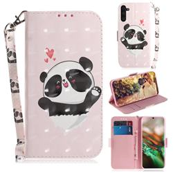 Heart Cat 3D Painted Leather Wallet Phone Case for Samsung Galaxy Note 10 (6.28 inch) / Note10 5G