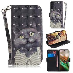 Cat Embrace 3D Painted Leather Wallet Phone Case for Samsung Galaxy Note 10 (6.28 inch) / Note10 5G
