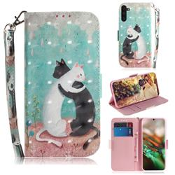 Black and White Cat 3D Painted Leather Wallet Phone Case for Samsung Galaxy Note 10 (6.28 inch) / Note10 5G