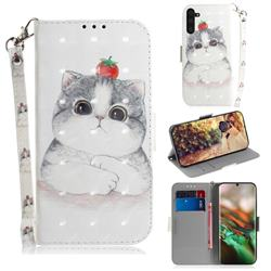Cute Tomato Cat 3D Painted Leather Wallet Phone Case for Samsung Galaxy Note 10 (6.28 inch) / Note10 5G