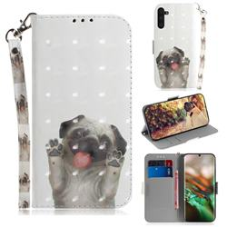 Pug Dog 3D Painted Leather Wallet Phone Case for Samsung Galaxy Note 10 (6.28 inch) / Note10 5G