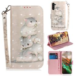 Three Squirrels 3D Painted Leather Wallet Phone Case for Samsung Galaxy Note 10 (6.28 inch) / Note10 5G