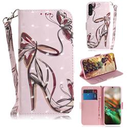 Butterfly High Heels 3D Painted Leather Wallet Phone Case for Samsung Galaxy Note 10 (6.28 inch) / Note10 5G
