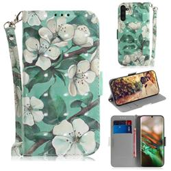 Watercolor Flower 3D Painted Leather Wallet Phone Case for Samsung Galaxy Note 10 (6.28 inch) / Note10 5G