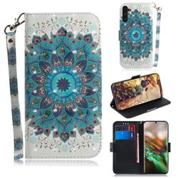 Peacock Mandala 3D Painted Leather Wallet Phone Case for Samsung Galaxy Note 10 (6.28 inch) / Note10 5G