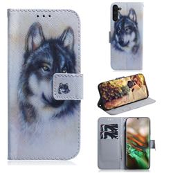 Snow Wolf PU Leather Wallet Case for Samsung Galaxy Note 10 (6.28 inch) / Note10 5G