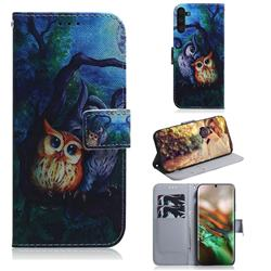 Oil Painting Owl PU Leather Wallet Case for Samsung Galaxy Note 10 (6.28 inch) / Note10 5G