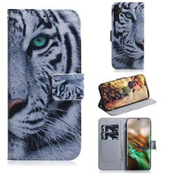 White Tiger PU Leather Wallet Case for Samsung Galaxy Note 10 (6.28 inch) / Note10 5G