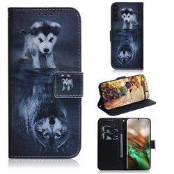 Wolf and Dog PU Leather Wallet Case for Samsung Galaxy Note 10 (6.28 inch) / Note10 5G