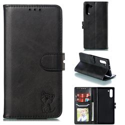 Embossing Happy Cat Leather Wallet Case for Samsung Galaxy Note 10 (6.28 inch) / Note10 5G - Black
