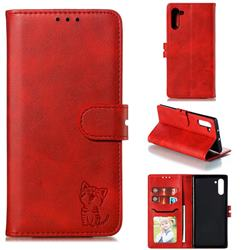 Embossing Happy Cat Leather Wallet Case for Samsung Galaxy Note 10 (6.28 inch) / Note10 5G - Red