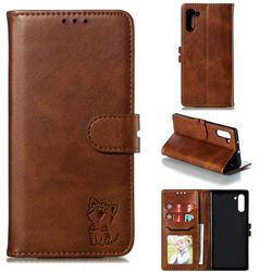 Embossing Happy Cat Leather Wallet Case for Samsung Galaxy Note 10 (6.28 inch) / Note10 5G - Brown