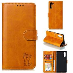 Embossing Happy Cat Leather Wallet Case for Samsung Galaxy Note 10 (6.28 inch) / Note10 5G - Yellow