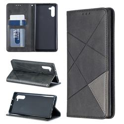 Prismatic Slim Magnetic Sucking Stitching Wallet Flip Cover for Samsung Galaxy Note 10 (6.28 inch) / Note10 5G - Black