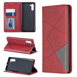 Prismatic Slim Magnetic Sucking Stitching Wallet Flip Cover for Samsung Galaxy Note 10 (6.28 inch) / Note10 5G - Red