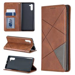 Prismatic Slim Magnetic Sucking Stitching Wallet Flip Cover for Samsung Galaxy Note 10 (6.28 inch) / Note10 5G - Brown