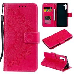 Intricate Embossing Datura Leather Wallet Case for Samsung Galaxy Note 10 (6.28 inch) / Note10 5G - Rose Red