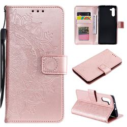 Intricate Embossing Datura Leather Wallet Case for Samsung Galaxy Note 10 (6.28 inch) / Note10 5G - Rose Gold