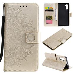 Intricate Embossing Datura Leather Wallet Case for Samsung Galaxy Note 10 (6.28 inch) / Note10 5G - Golden