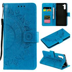 Intricate Embossing Datura Leather Wallet Case for Samsung Galaxy Note 10 (6.28 inch) / Note10 5G - Blue