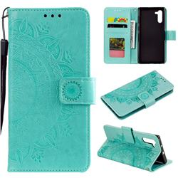 Intricate Embossing Datura Leather Wallet Case for Samsung Galaxy Note 10 (6.28 inch) / Note10 5G - Mint Green