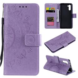 Intricate Embossing Datura Leather Wallet Case for Samsung Galaxy Note 10 (6.28 inch) / Note10 5G - Purple