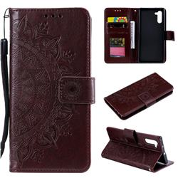 Intricate Embossing Datura Leather Wallet Case for Samsung Galaxy Note 10 (6.28 inch) / Note10 5G - Brown