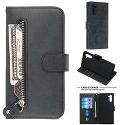 Retro Luxury Zipper Leather Phone Wallet Case for Samsung Galaxy Note 10 (6.28 inch) / Note10 5G - Black