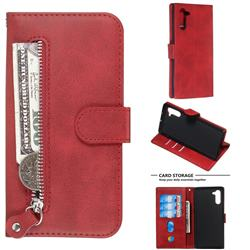 Retro Luxury Zipper Leather Phone Wallet Case for Samsung Galaxy Note 10 (6.28 inch) / Note10 5G - Red