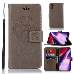 Intricate Embossing Owl Campanula Leather Wallet Case for Samsung Galaxy Note 10 (6.28 inch) / Note10 5G - Grey
