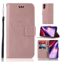 Intricate Embossing Owl Campanula Leather Wallet Case for Samsung Galaxy Note 10 (6.28 inch) / Note10 5G - Rose Gold