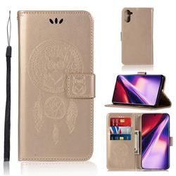 Intricate Embossing Owl Campanula Leather Wallet Case for Samsung Galaxy Note 10 (6.28 inch) / Note10 5G - Champagne