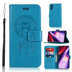 Intricate Embossing Owl Campanula Leather Wallet Case for Samsung Galaxy Note 10 (6.28 inch) / Note10 5G - Blue