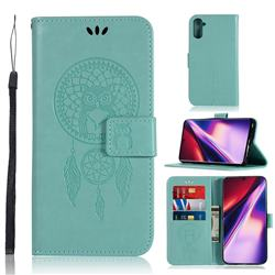 Intricate Embossing Owl Campanula Leather Wallet Case for Samsung Galaxy Note 10 (6.28 inch) / Note10 5G - Green