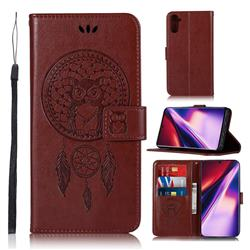 Intricate Embossing Owl Campanula Leather Wallet Case for Samsung Galaxy Note 10 (6.28 inch) / Note10 5G - Brown