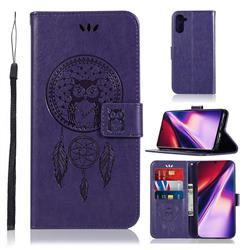 Intricate Embossing Owl Campanula Leather Wallet Case for Samsung Galaxy Note 10 (6.28 inch) / Note10 5G - Purple