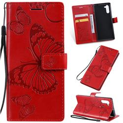 Embossing 3D Butterfly Leather Wallet Case for Samsung Galaxy Note 10 (6.28 inch) / Note10 5G - Red