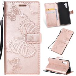 Embossing 3D Butterfly Leather Wallet Case for Samsung Galaxy Note 10 (6.28 inch) / Note10 5G - Rose Gold
