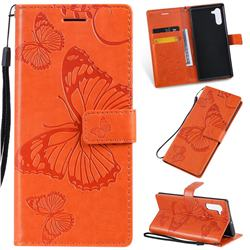Embossing 3D Butterfly Leather Wallet Case for Samsung Galaxy Note 10 (6.28 inch) / Note10 5G - Orange