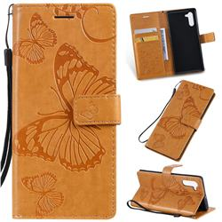 Embossing 3D Butterfly Leather Wallet Case for Samsung Galaxy Note 10 (6.28 inch) / Note10 5G - Yellow