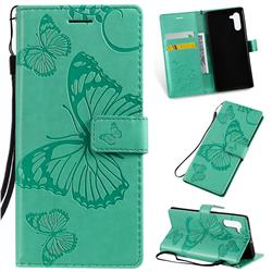 Embossing 3D Butterfly Leather Wallet Case for Samsung Galaxy Note 10 (6.28 inch) / Note10 5G - Green