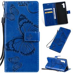 Embossing 3D Butterfly Leather Wallet Case for Samsung Galaxy Note 10 (6.28 inch) / Note10 5G - Blue