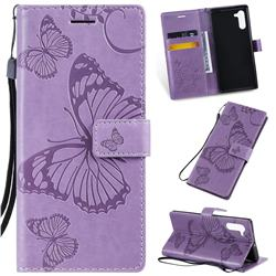 Embossing 3D Butterfly Leather Wallet Case for Samsung Galaxy Note 10 (6.28 inch) / Note10 5G - Purple