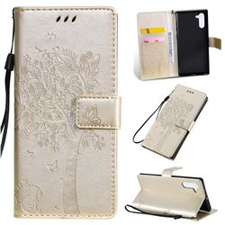 Embossing Butterfly Tree Leather Wallet Case for Samsung Galaxy Note 10 (6.28 inch) / Note10 5G - Champagne