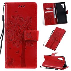 Embossing Butterfly Tree Leather Wallet Case for Samsung Galaxy Note 10 (6.28 inch) / Note10 5G - Red
